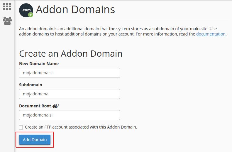 Dodajanje dodane domene (ang. Create an Addon Domain)